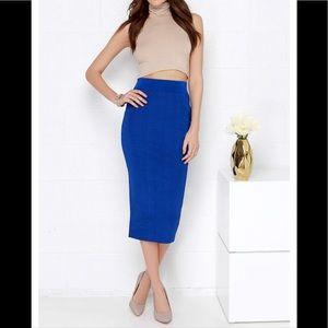 Dresses & Skirts - 🎉HP🎉🆕Blue Lined Ponte Pencil Skirt NWOT